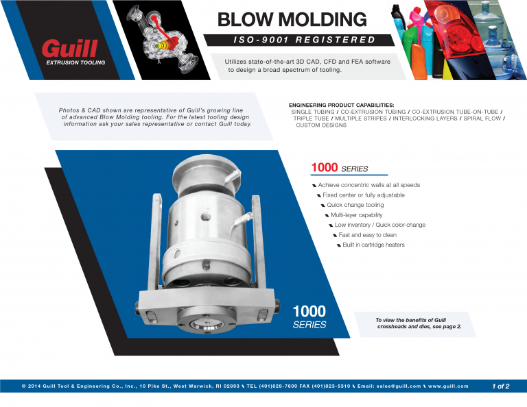 Guill's Blow Molding Industry Sales Sheet